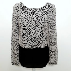 Gianni Bini Black & White Blouse with Lace Overlay